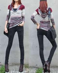 Womens Casual Shooting DS Blacks Skinny Jeans Korean Style Vintage