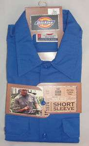 DICKIES SHORT SLEEVE WORK SHIRT BLUE M TO 4XL