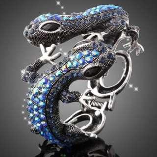 ARINNA Swarovski Crystal Couple Lizard Bangle Bracelet