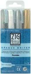 OPAQUE WRITER Pen Set Black, White, Silver & Gold Zig
