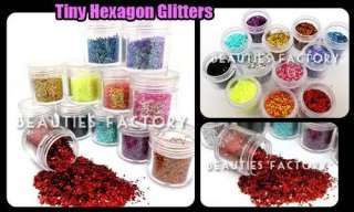12 Color Hexagon Glitter Nail Art Decoration #421