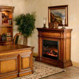 55 Hand Carved Beige Marble Top Fireplace w/ Remote