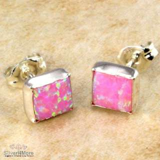 SQUARE PINK FIRE OPAL 925 STERLING SILVER EARRINGS Q599
