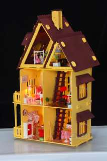 3D DIY LED light wooden colourful dollhouse Miniatures&furniture Kit