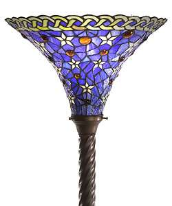 Tiffany Style Blue Violet Stained Glass Torchiere Floor Lamp NEW
