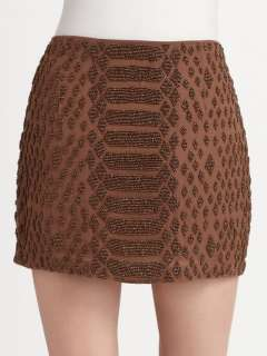 HAUTE HIPPIE BROWN BEADED SNAKESKIN PATTERN MINI SKIRT NWT sz XS