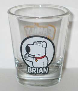 The Family Guy Brian Figure Illustrated Clear ShotGlass NEW UNUSED