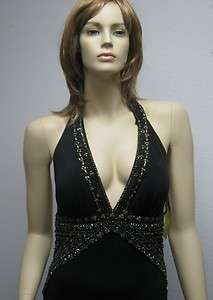 Sue Wong black beaded evening dress gown long halter 6