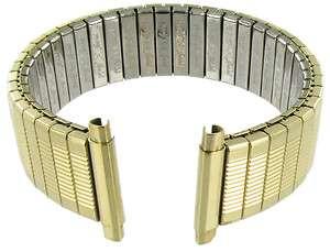 16 19mm Speidel Stainless Twist O Flex Gold Tone Metal Watch Band 1368