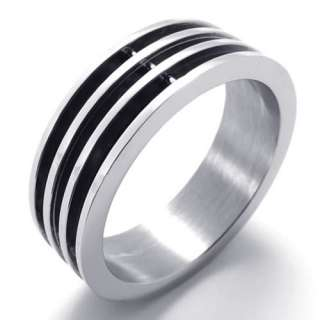 Mens Silver Black Stainless Steel Ring US Size 7,8,9,10,11,12,13