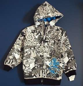 New Disney World MICKEY & Friends Sketch Print Hoodie Jacket Kids XXS