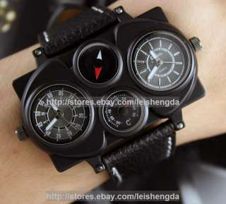 Mens Dual Cores Dual Time zone Army Military Sports Pilot Captain