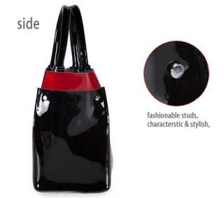 Shinny Genuine Italian Calf Leather HandBag Purse Black