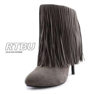 Genuine Suede Fringe Ankle Stiletto Boot Black Booties