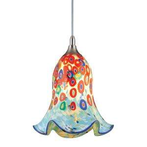 Hampton Bay 1 Light Multicolor Art Glass Mini Pendant HD248818 at The