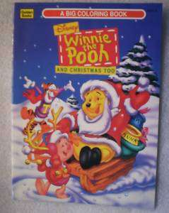 DISNEY WINNIE THE POOH AND CHRISTMAS TOO! c/1995 Unused Color Book