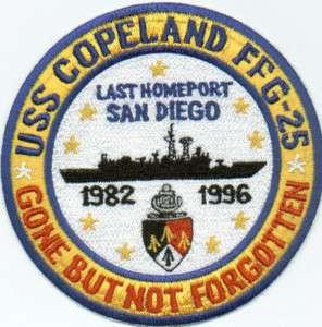 US NAVY SHIP PATCH, USS COPELAND, FFG 25, 1982 1996