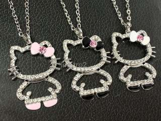 3x black white pink bowknot hello kitty cat swarovski crystal BFF