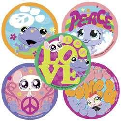 30 Littlest Pet Shop Stickers, Peace, Love & Pets, 2.5