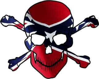 Rebel Flag Skull Crossbones Style 3 Vinyl Sticker Decal confederate