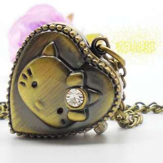 Diamond Kitty Pendant Necklace Quartz Pocket Watch Xmas gift sy104