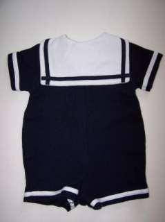 Good Lad Boy Navy Sailor Nautical Romper Suit 6 9 mo