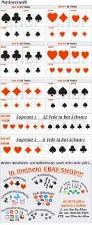 XL Aufkleber Karten Set +Rakel   Sticker Poker Skat Pik Karo Kreuz