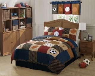 CLASSIC SPORTS BOYS BASEBALL STATE TWIN FULL QUEEN QUILT BEDDING SET