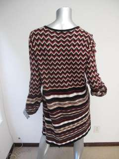 Missoni Maroon/Brown/Ivory Zig Zag Striped Long Sleeve Scoop Neck
