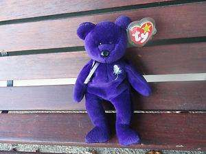 Princess Diana Beanie Baby Bear 1997 Made In China PE Pellets