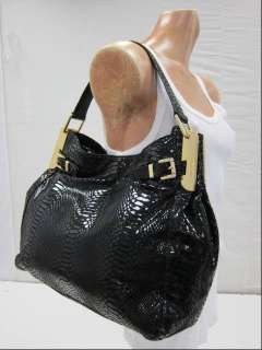NEW Michael Kors Kingston Black Python Embossed Leather Shoulder Bag