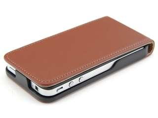 Edle iPhone 4 Leder Tasche Lederhülle Case BRAUN Etui