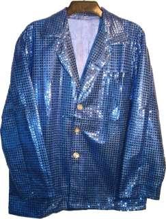 MEN 70s BAND SEQUIN CABARET PARTY GLITTER JACKET BLUE