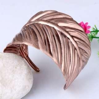 Vintage Copper Winding Vivid Leaf of Japanese Banana Cuff Bracelet