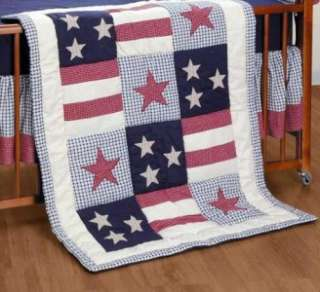 QUILT THROW Stars and Stripes Americana Red White Blue