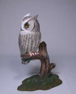 Whiskered Screech Owl Bird Wood Carving/Birdhug