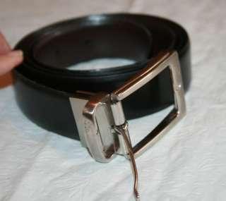 NAT NAST Reversible Leather BELT Black Brown Pewter Silver Buckle 40