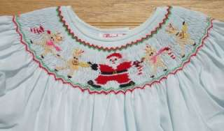 Lt. Blue Smocked Santa Reindeer Bishop Christmas Dress NEW 24M