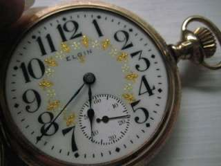 Antique Elgin Pocket Watch Gold Filled Fancy Dial 16 S