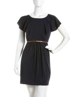 Ali Ro Flutter Sleeve Belted Dress