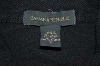 BANANA REPUBLIC LONG SLEEVE BLACK CASUAL RAYON COTTON POLO SHIRT MENS