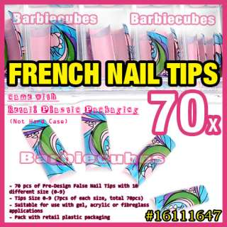 70 pcs Creative Art Draw Design French UV Acrylic False Nail Tips