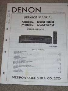 Denon Service/Operation Manual~DCD 680/670 CD Player