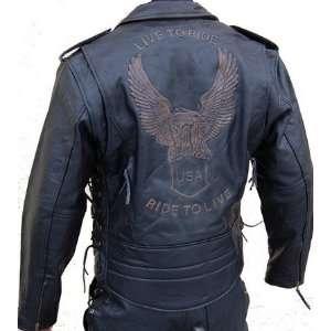 Lederjacke Leder Jacke für Biker Chopper Mottoradjacke Motorrad