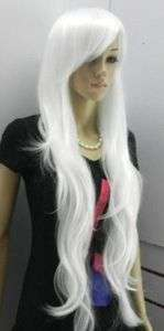 W111# Hot Sell New white long wavy cosplay full wig Hair Wigs