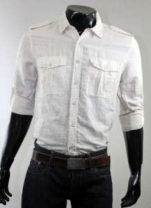 The Shirt by Joes Mens Relaxed Military Roll up Button Down Shirt, S