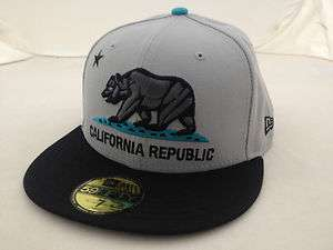 NEW ERA 5950 RARE CUSTOM CALIFORNIA REPUBLIC GREY/GRAPHITE