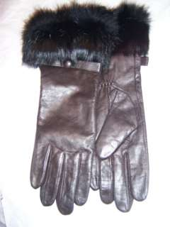 Ladies Button Bow,Blk Rabbit Fur, Brn Leather Gloves