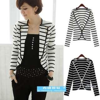 New Womens Lapel Casual Stripe Suits Blazer Jacket Outerwear 2 Color