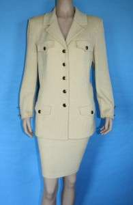 JOHN COLLECTION KNIT FITTED JACKET & SKIRT 2 PC SUIT LIGHT GOLD SZ 12
